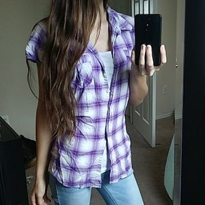 Purple Plaid Short Sleeve